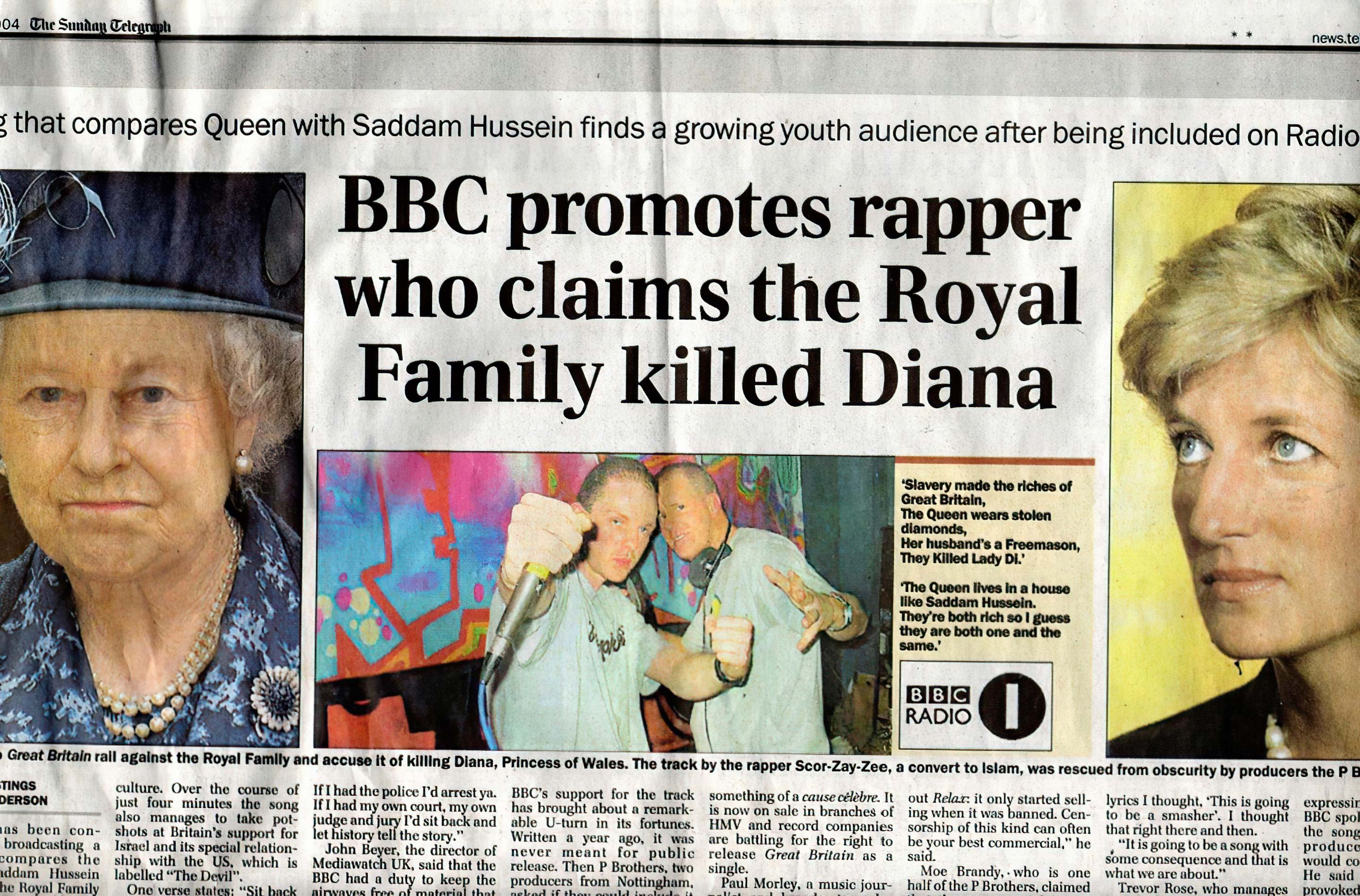 BBC promotes rapper who claims the Royal Family killed Diana